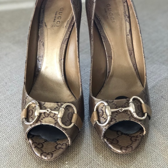 30af35dff Gucci Shoes | Brown Gold Satin Gg Monogram Peeptoe Pumps | Poshmark